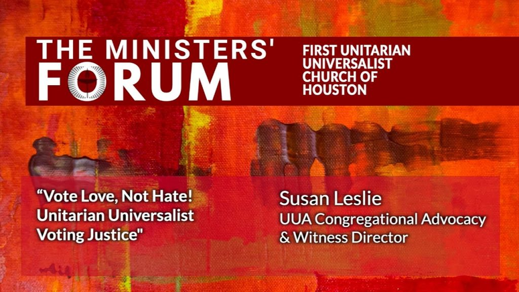First Unitarian Universalist Church of Houston - Ministers' Forum - Sept. 16, 2020