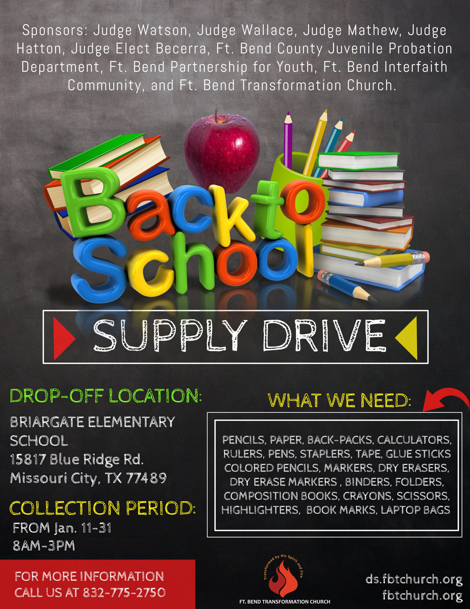Back to School Supply Drive - First UU Church of Houston