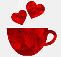 red coffee cup with hearts